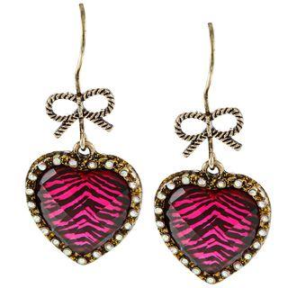 Betsey Johnson Cubic Zirconia Pink Leopard Print Heart Drop Earrings