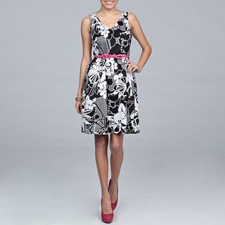 Spense Womens Black/ White Floral Belted Dress