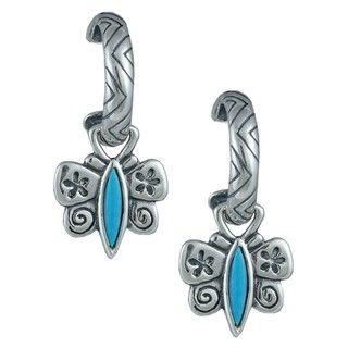 Southwest Moon Silver Sleeping Beauty Turquoise Butterfly Earrings