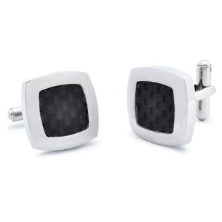 Stainless Steel Black Carbon Fiber Inlay Cuff Links