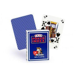 Cartes Poker Index 100% plastique (bleu)   Jeu de 52 cartes Modiano