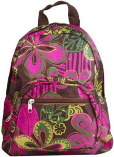 Green and Pink Floral Backpack Purse Bag Clothing