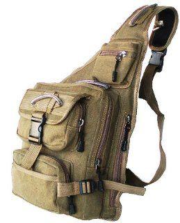 Military Inspired Canvas Sling Bag Backpack Bookbag Khaki