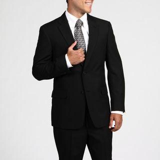 Tommy Hilfiger Mens Trim Fit Black Pinstripe 2 button Wool Suit