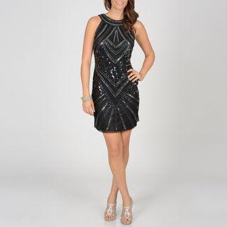 Ignite Evenings Womens Black Sequin Evening Dress