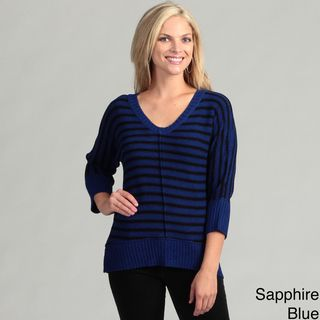 Cable & Gauge Womens Striped Dolman Sleeve Sweater Top
