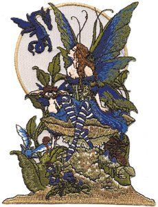 Amy Brown Artist Patch   Blue Dragon Shroom Fairy