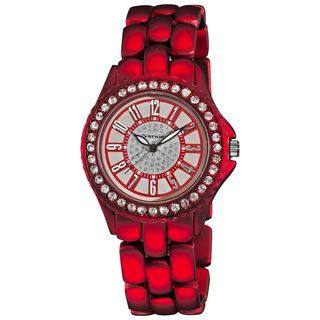 Vernier Womens Fashion Red Soft touch Dazzling Dial Bracelet Watch
