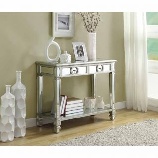 Mirrored 38 inch Sofa Console Table With Two Drawers