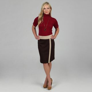 Amelia Womens Espresso Color Combo Ponte Skirt
