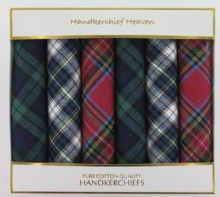 Six Assorted Red/Green/Blue Tartan Handkerchiefs (HH84