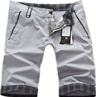 BINZII Mens Chino Leisure Turn up Shorts   38   Light