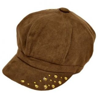 Brown Poly Suede Gold Studded Newsboy Hat Clothing