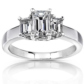 14k White Gold 1 1/4ct TDW Emerald cut Diamond Engagement Ring (H I