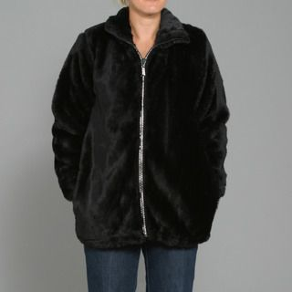Black Mountain Womens Faux Fur Rhinestone Jacket