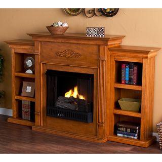 Dublin Glazed Pine Gel Fuel Fireplace with Bookshelves