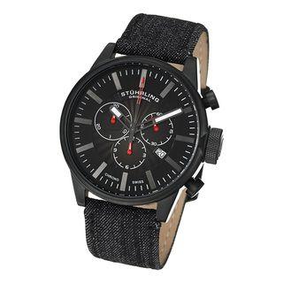 Stuhrling Original Mens Concorso Sport Quartz leather Strap Watch
