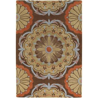 Hand tufted Dharima Brown/ Orange New Zealand Wool Rug (79 x 106