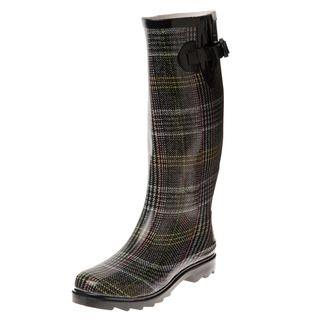 Henry Ferrera Womens Grey Plaid Printed Rain Boots