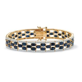 Angelina DAndrea 14k Goldplated Sapphire and Diamond Accent Bracelet