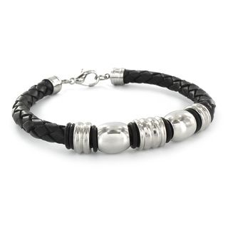 High polish Stainless Steel and Black Leather Bangle Bracelet