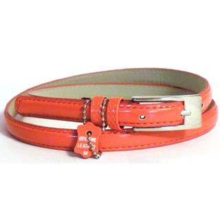 Womens Orange Leather Skinny Dress Belt