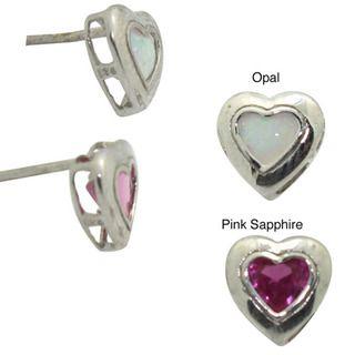 Jenne Sterling Silver Created Opal Heart Earrings
