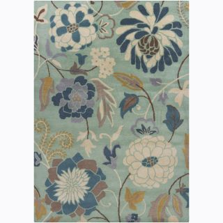 Hand tufted Mandara Green Floral Wool Rug (5 x 7)