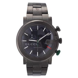 Gucci Mens 101 Stainless Steel Black Dial Chronograph Watch