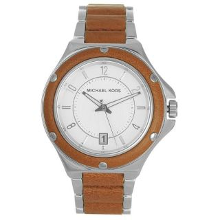 Michael Kors Mens Casual Grey Dial Leather Accent Watch