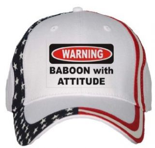 BABOON WITH ATTITUDE USA Flag Hat / Baseball Cap Clothing