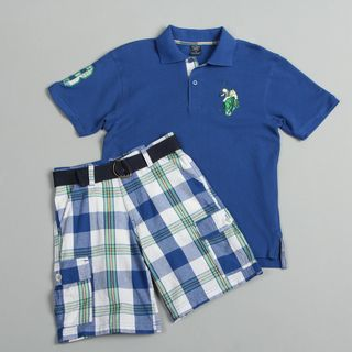 US Polo Association Boys Blue Plaid Short Set