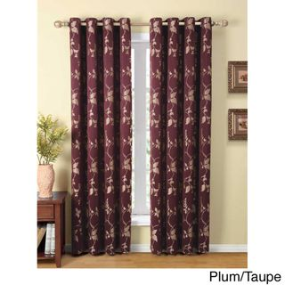 Claret Leaf and Vines Grommet 84 inch Curtain Panel
