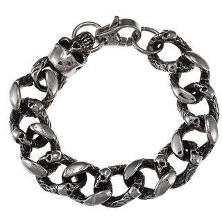 Inox Mens Stainless Steel Skull Crusher Link Bracelet
