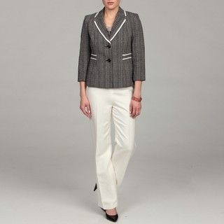 Evan Picone Womens Black Multi/ Vanilla Pant Suit