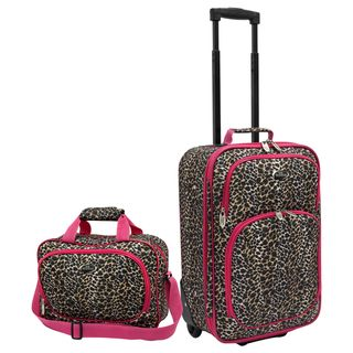 Traveler Pink Leopard Fashion 2 piece Carry on Luggage Set