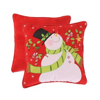 Holiday Snowman 12 inch Corded Accent Pillow