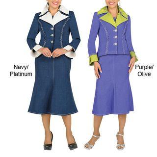 Divine Apparel Two Tone, 3 Piece Womens Denim Suit