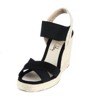 Sam & Libby Womens Chammy Black Wedge Espadrille Sandals