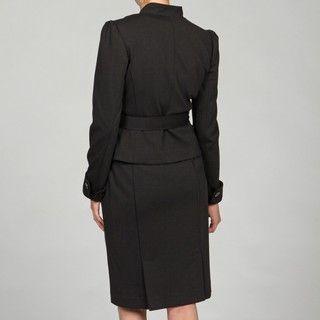 Nine West Womens Black Faux button 2 piece Skirt Suit