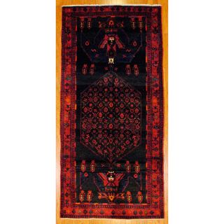 Persian Hand knotted Black/ Red Tribal Hamadan Wool Rug (410 x 104