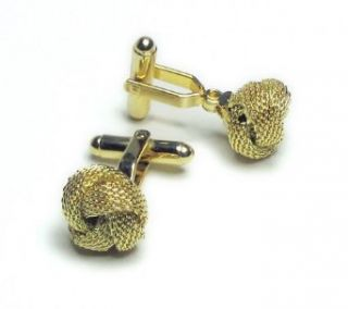 GOLD Colored Mens Cuff Links. Traditional double knot