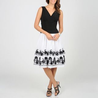 Fashions Womens White/ Black Floral Dress