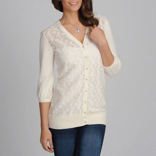 Amanda Charles Womens Ivory Lace Novelty Sweater