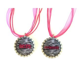 Bow Clippeez 2 Envy Best Friend Bottle Cap Necklace Set