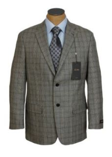 Tasso Elba Mens 2 Button Khaki Plaid Wool Sport Coat