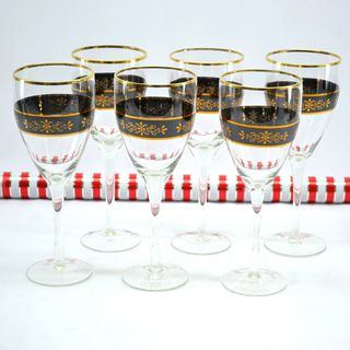 Threestar Crystal Black/ Gold Floral Wine Glasses (Set of 6