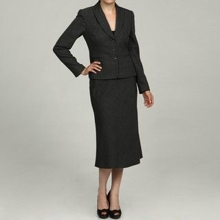 Tahari Womens Black/ Grey Skirt Suit