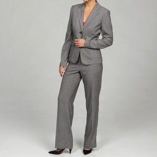 Calvin Klein Womens Black/ Cream 2 piece Pant Suit