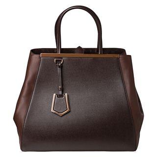 Fendi 2Jours Large Brown Vitello/ Saffiano Leather Shopper Bag